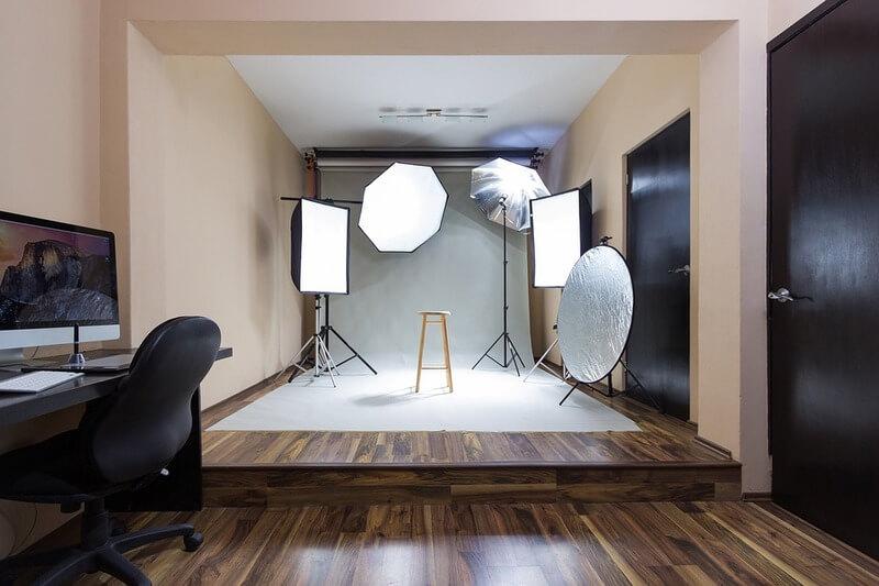 Estúdio de fotos dentro de casa