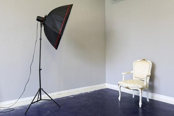 Espaço branco para ensaios de fotos