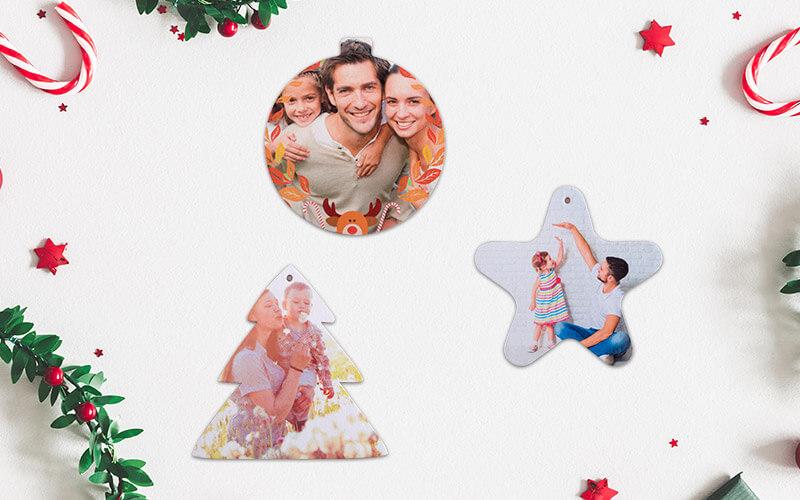 Três modelos de enfeites de Natal com foto