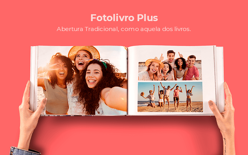 Fotolivro Plus com abertura tradicional