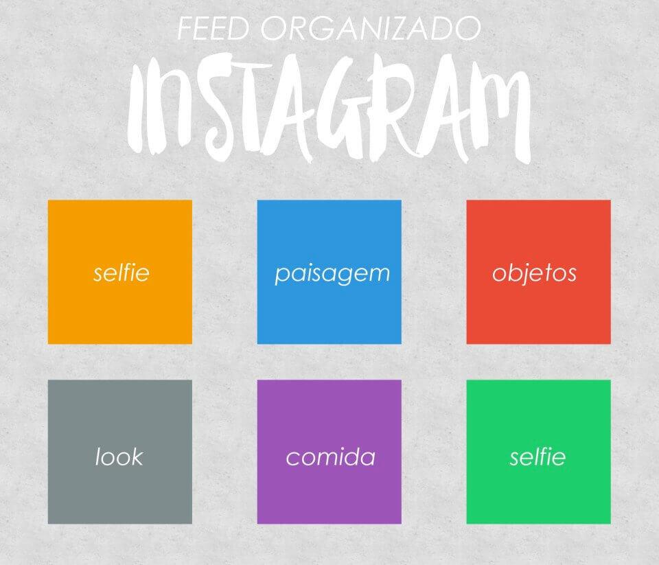 Exemplo organização de feed do Instagram