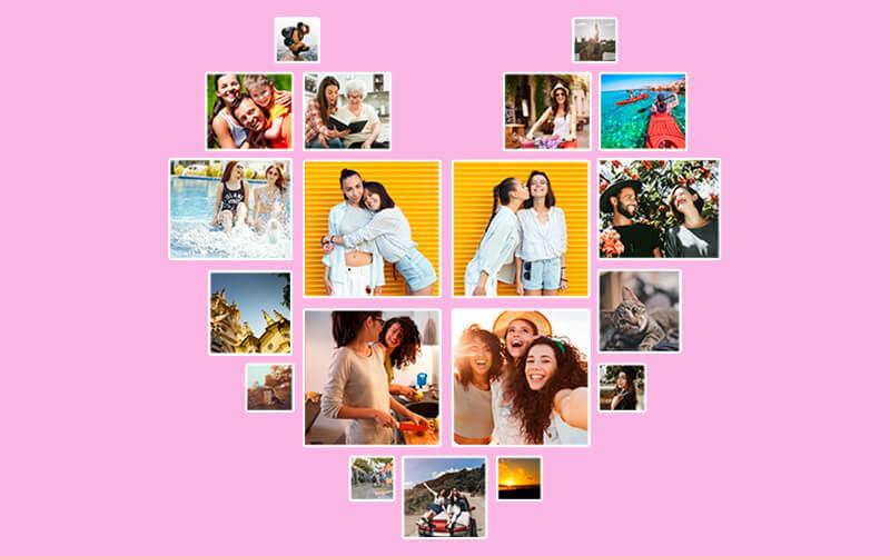 Fotos organizadas em mural com formato de coração