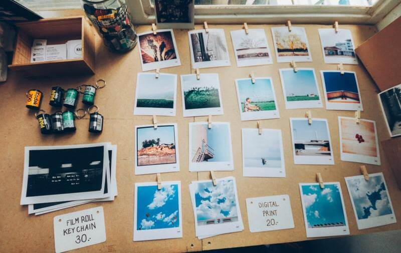 Fotos Polaroid em mural