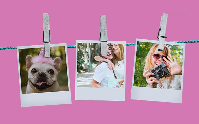Varal com três fotos polaroid